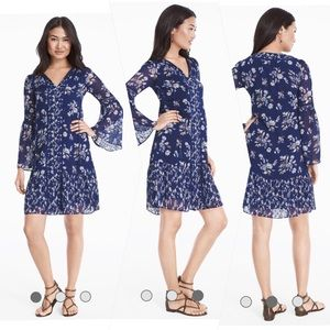 WHBM Lace inset floral shift dress